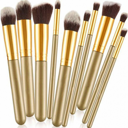 Set de 10 Pensule Profesionale Top Quality Kabuki, Khaki Gold