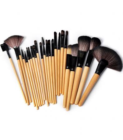 Set de 24 Pensule Profesionale Top Quality Lilyz, mix de par natural, Natural Wood1