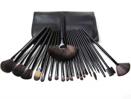 Set de 24 Pensule Profesionale Top Quality Lilyz, mix de par natural, Black