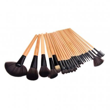 Set de 24 Pensule Profesionale Top Quality Lilyz, mix de par natural, Natural Wood3