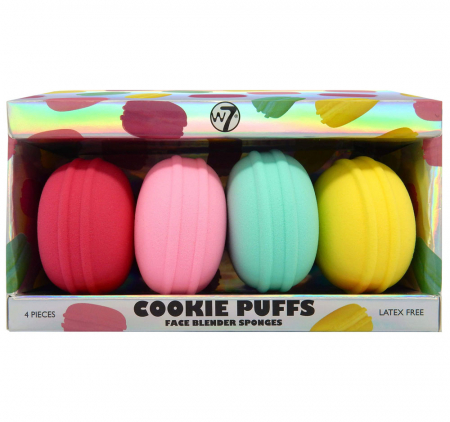 Set de 4 Bureti Macaroons pentru Machiaj, fara latex, W7 Cookie Puff Face Blender Sponges
