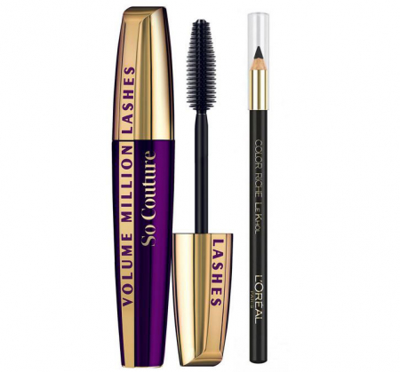 Set Machiaj L'Oreal Paris: Mascara Volume Million Lashes So Couture si Creion de Ochi Color Riche Le Khol, Black Edition