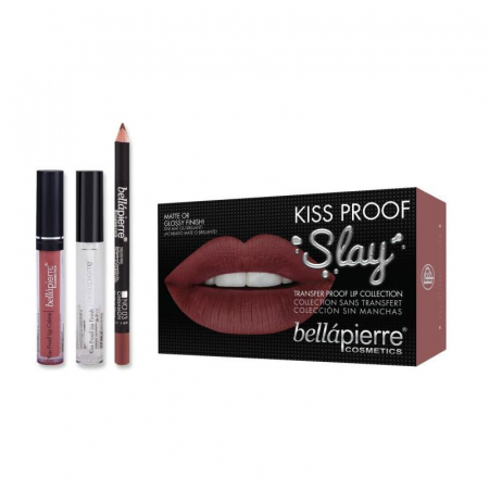 Set Rezistent la Transfer pentru Buze, Bellapierre Kiss Proof Slay, Transfer Lip Collection, Muddy Rose