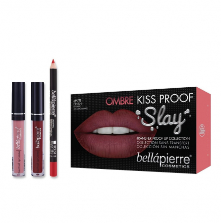 Set Rezistent la Transfer pentru Buze, Bellapierre Kiss Proof Slay, Ombre, Transfer Lip Collection, 40's Red
