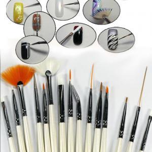 Set 15 Pensule Profesionale Nail Art pentru Pictura Unghiilor - Pink2