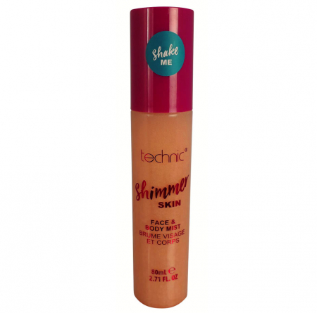 Spray Stralucitor Pentru Fata Si Corp Technic Shimmer Skin Face & Body Mist, Sunset, 80 ml