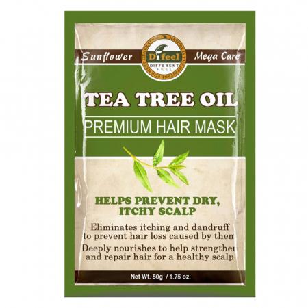 Masca premium pentru par Difeel din Ulei de Arbore de Ceai pentru prevenirea scalpului uscat si al matretii, 50 g