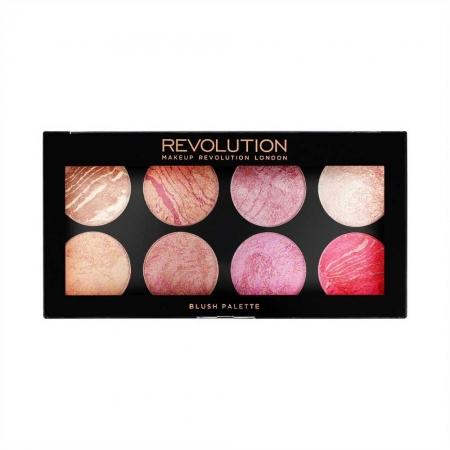 Trusa cu 8 Blushuri MAKEUP REVOLUTION Blush Palette pentru conturare si iluminare - Blush Queen, 13g1