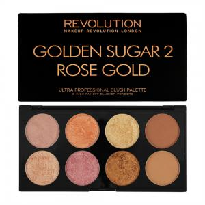 Paleta Cu 8 Blush-uri MAKEUP REVOLUTION Ultra Blush Golden Sugar 2, Rose Gold