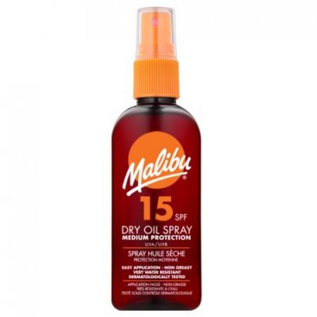 Ulei De Plaja MALIBU Dry Oil Spray cu Unt de Shea, UVA/UVB, SPF15, 200 ml