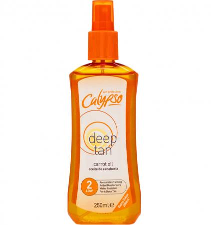 Ulei de Morcov pentru accelerarea si intensificarea bronzului CALYPSO Deep Tan Carrot Oil, SPF2, 250 ml