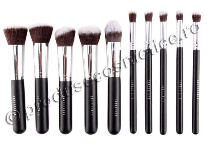 Set de 10 Pensule Profesionale FRAULEIN38 Top Quality Kabuki - Black-big