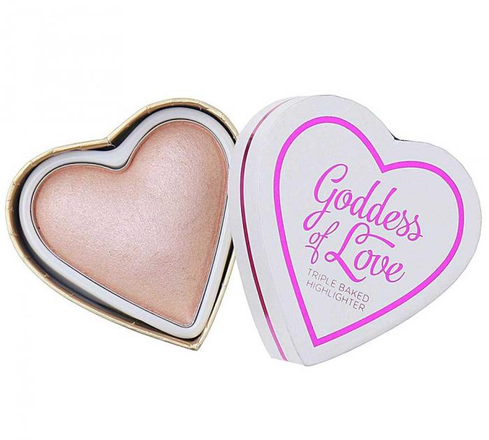 Iluminator Makeup Revolution I Heart Makeup Blushing Hearts Baked Highlighter - Goddess Of Love, 10g-big