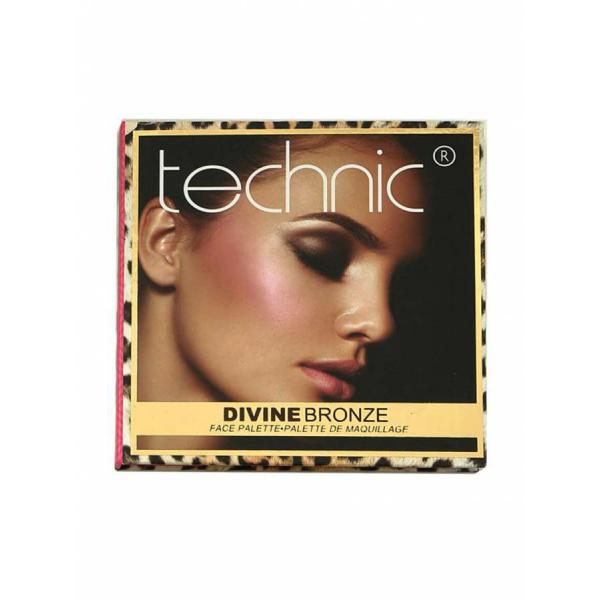 Kit pentru iluminare, conturare si evidentiere TECHNIC Divine Bronze Face Palette, 24g-big