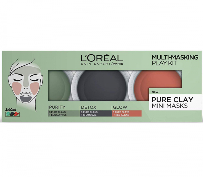 Kit 3 Masti pentru Ten L'Oreal 3 Pure Clays Multi-Masking Face Mask Play Kit, 3 x 10 ml-big