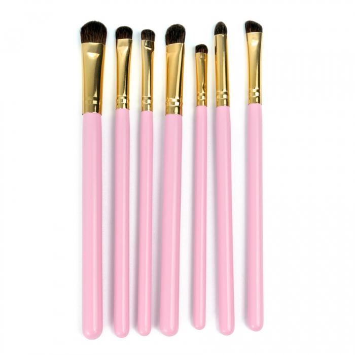 Set 7 Pensule Profesionale pentru Machiajul Ochilor, Gold Pink-big