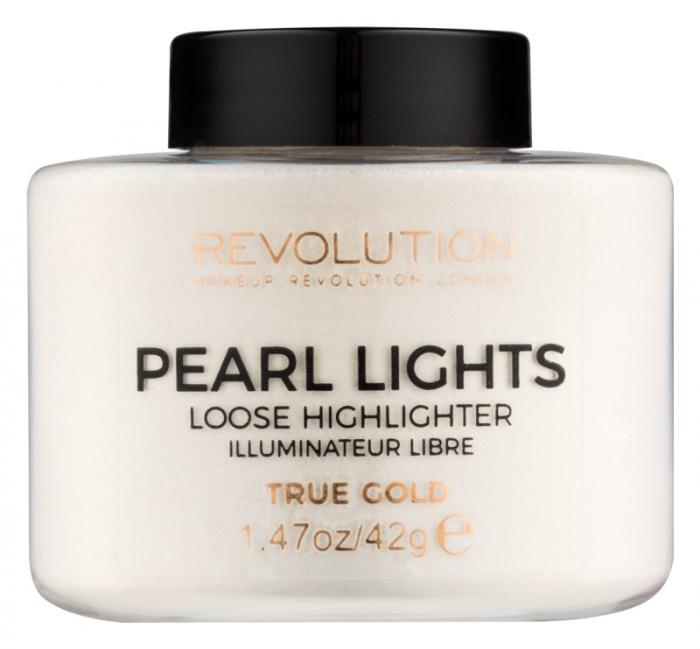 Iluminator Pulbere MAKEUP REVOLUTION Pearl Lights Loose Highlighter - True Gold, 42g-big