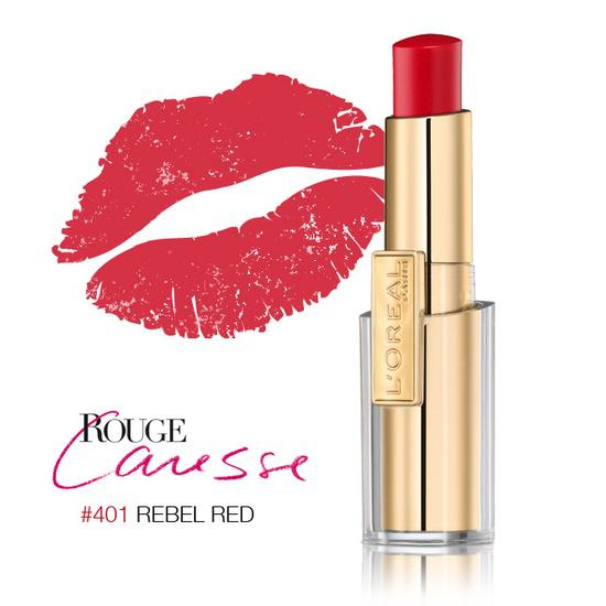 Ruj L'oreal Caresse - 401 Rebel Red-big