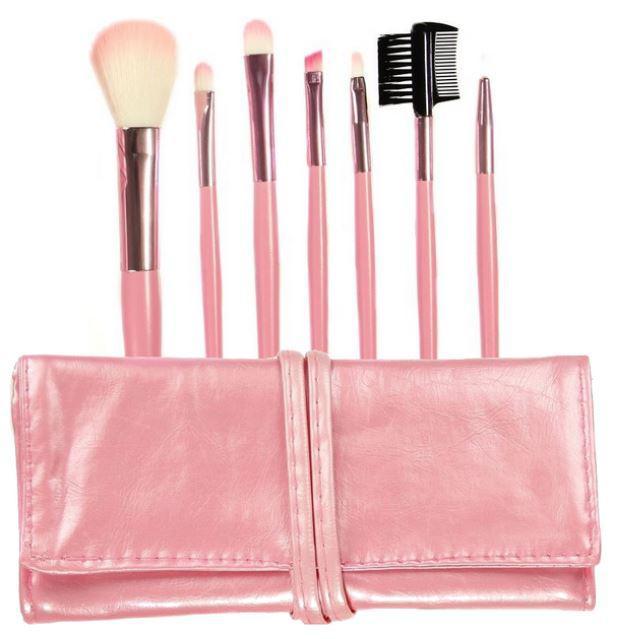 Set 7 Pensule Profesionale Luxury pentru Machiaj - Pink Addicted-big