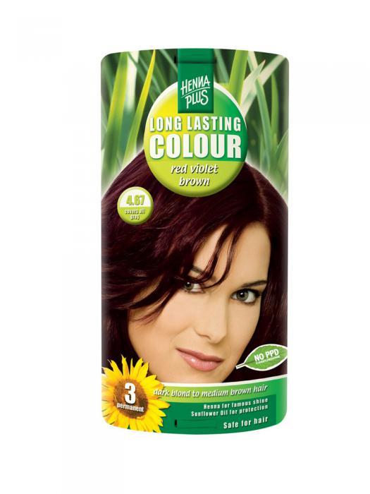 Vopsea de Par HennaPlus Long Lasting Colour - Red Violet Brown 4.67-big