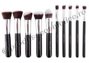 Set de 10 Pensule Profesionale FRAULEIN38 Top Quality Kabuki - Black0