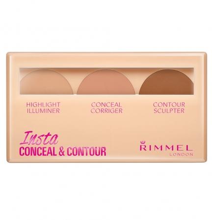 Paleta Conturare si Corectare RIMMEL Concealer Insta Conceal & Contour, 010 Light, 8.4 g