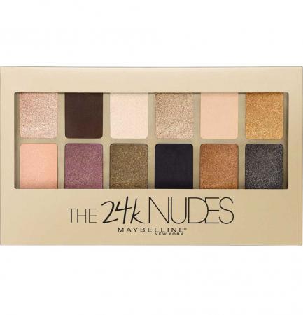 Paleta Farduri Maybelline The 24 Karat Nudes Eyeshadow Palette, 12 Nuante, 9.6 g
