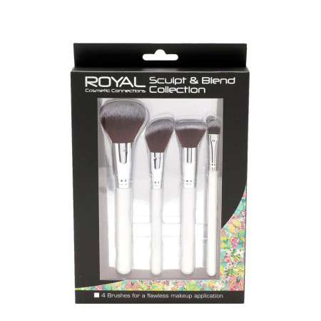 Set 4 pensule profesionale pentru ten Royal Sculpt & Blend Collection, 4 Makeup Brushes