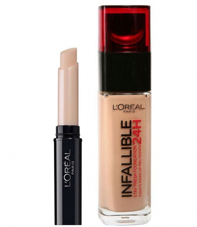 Set L'OREAL INFALLIBLE cu Anticearcan Corector, 04 Golden Beige si Fond de ten 200 Golden Sand