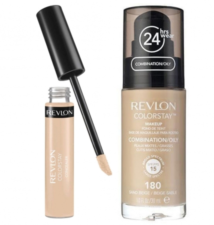 Set REVLON COLORSTAY, Ten Gras si Mixt cu Anticearcan Corector, 03 Light Medium si Fond de Ten, 180 Sand Beige