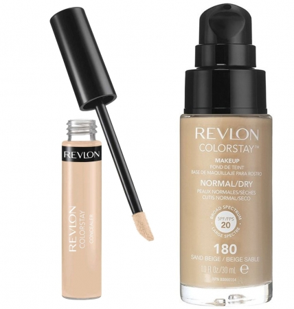Set REVLON COLORSTAY, Ten Normal si Uscat cu Anticearcan Corector, 02 Light si Fond de Ten, 180 Sand Beige