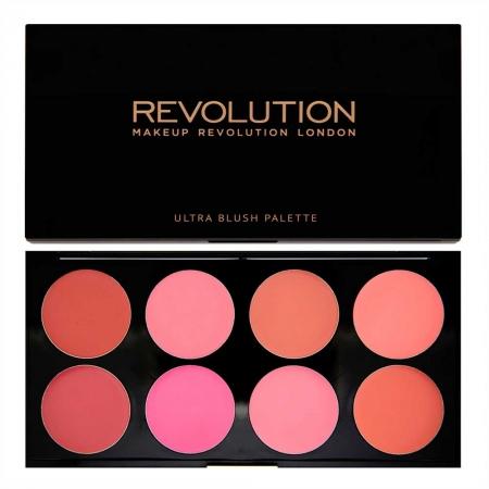 Trusa cu 8 Blushuri Cremoase MAKEUP REVOLUTION Ultra Professional Blush Palette, All About Cream, 13g