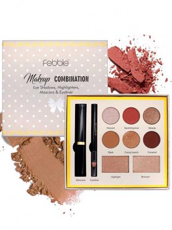 Kit makeup Febble Makeup Combination Eye Shadows, Highlighters, Mascara & Eyeliner