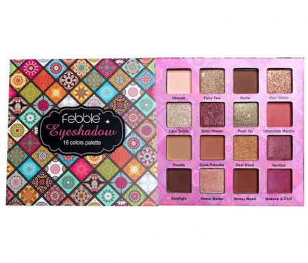 Paleta de farduri Febble Eyeshadow Palette, 16 Colors