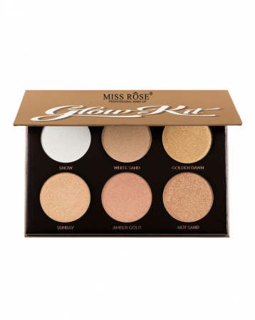 Paleta Iluminatoare si Conturare MISS ROSE Glow Kit, Six Color, Ultimate Glow
