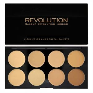 Paleta MAKEUP REVOLUTION Cover and Conceal Ultra Professional cu 8 Corectoare Cremoase - Light-Medium, 10g