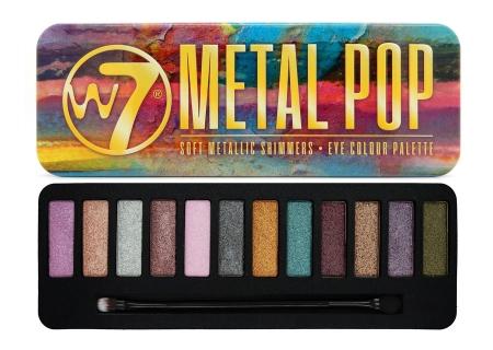 Paleta farduri W7 Metal Pop Soft Metallic Shimmers, 12 culori metalice, 15.6 g