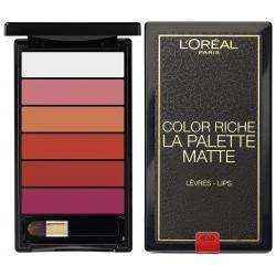 Paleta pentru buze cu 6 rujuri mate L'OREAL COLOR RICHE La Palette Matte - Bold, 6 gr
