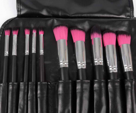 Set de 10 Pensule Profesionale pentru machiaj PINK Black1