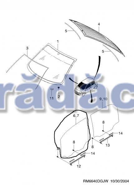Geam usa fata dr (culisant)  -transparent cod 96255766