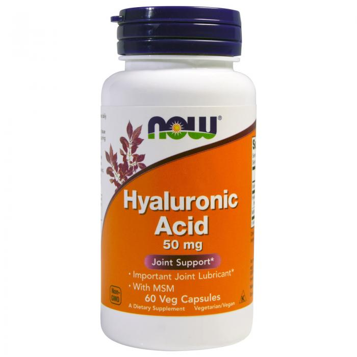 Now Hyaluronic Acid with MSM 50 mg 60 veg caps