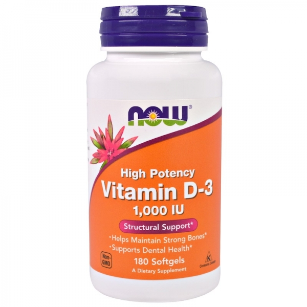 Now Vitamin D3 1000 IU 180 softgels 0