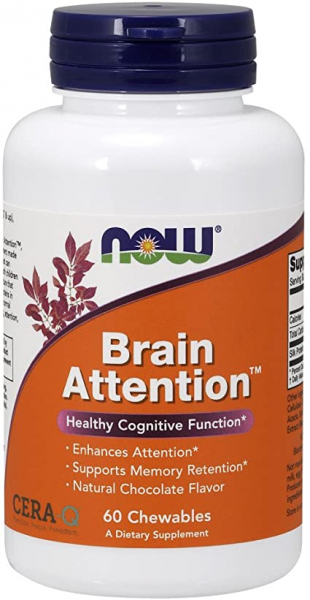 Now Brain Attention, Natural Chocolate Flavor 60 chewables [0]