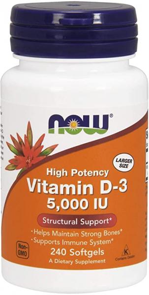 Now Vitamin D3 5000 IU 240 softgels 0