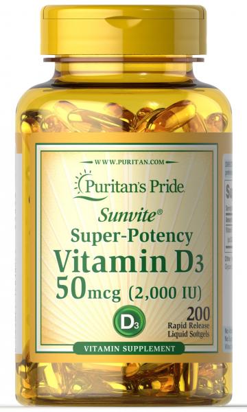 Puritan's Pride Vitamin D3 2000 IU 200 softgels 0