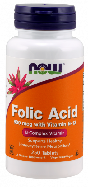 Now Folic Acid 800 mcg with Vit B-12 250 tab 0