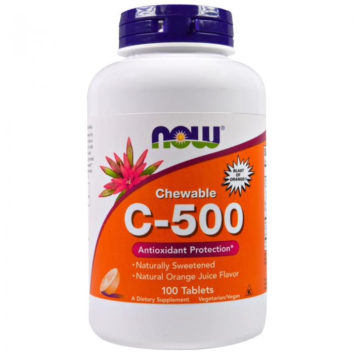 Now Vit C-500 Chewables 100 tab 0