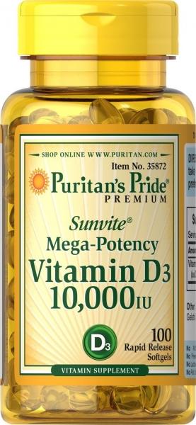 Puritan's Pride Vitamin D3 10.000 IU 100 softgels 0