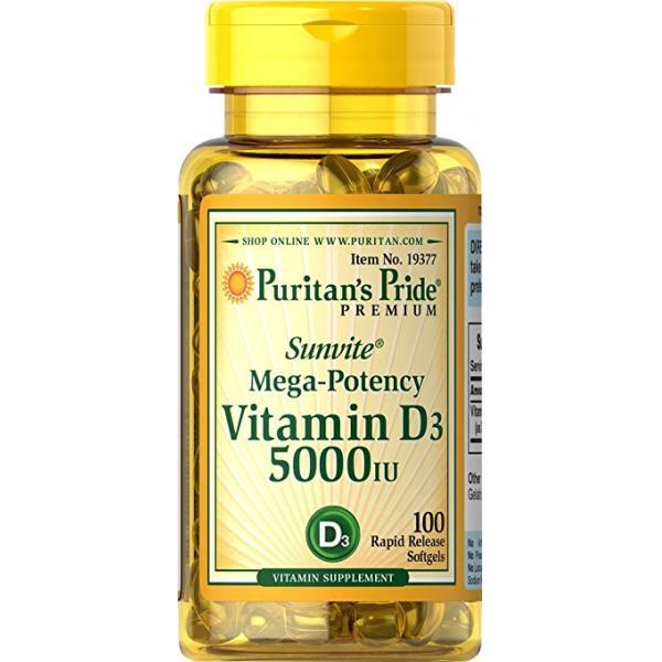 Puritan's Pride Vitamin D3 5000 IU 100 softgels 0