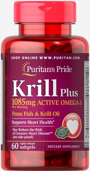 Puritan`s Pride Krill Plus Active Omega 3 1085 mg 60 sofltgels [0]